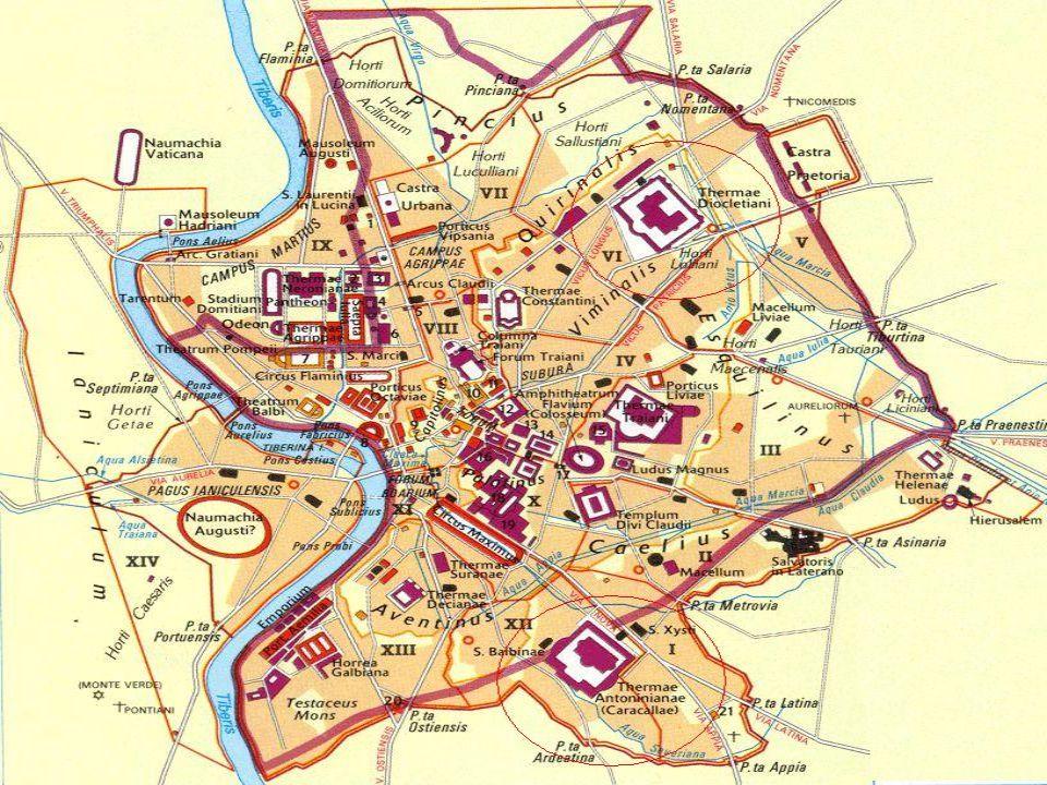 Funzioni delle Terme Le terme della Roma antica sono edifici pubblici sorti in varie parti della città a partire dall'epoca di Augusto in cui cessarono di funzionare a causa del taglio degli acquedotti,che alimentavano,durante le guerre.