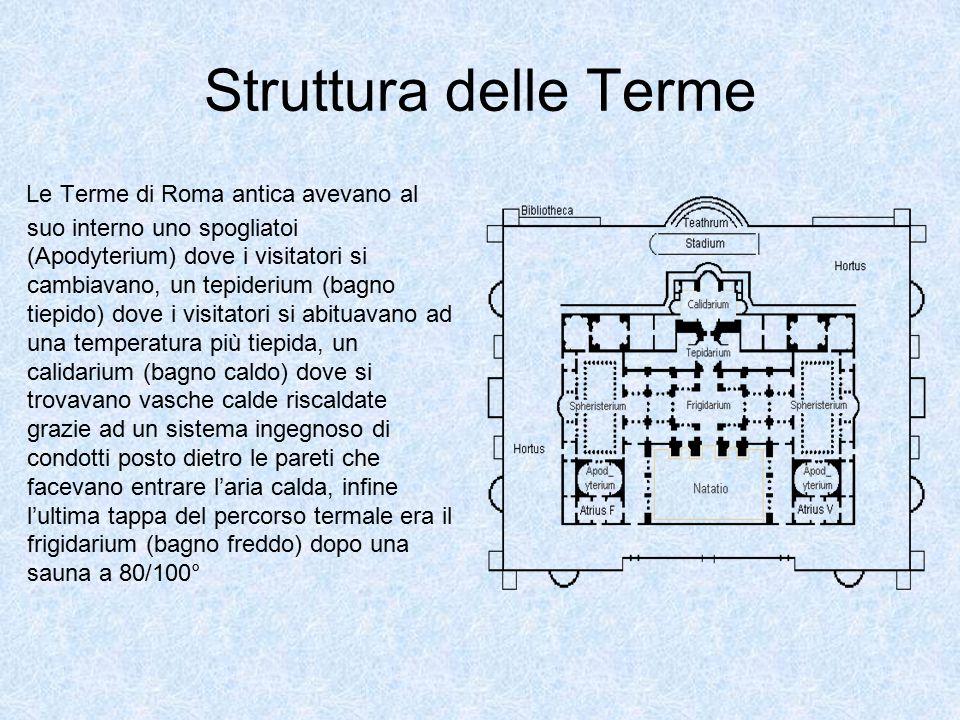 Struttura delle Terme Le Terme di Roma antica avevano al suo interno uno spogliatoi (Apodyterium) dove i visitatori si cambiavano, un tepiderium (bagn