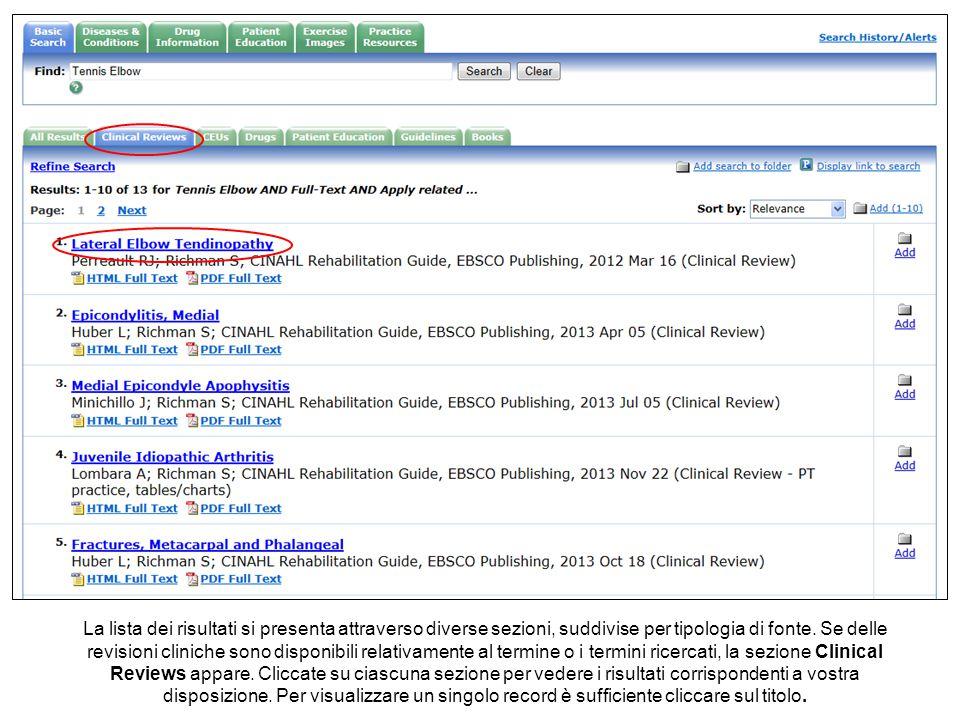 La lista dei risultati si presenta attraverso diverse sezioni, suddivise per tipologia di fonte.
