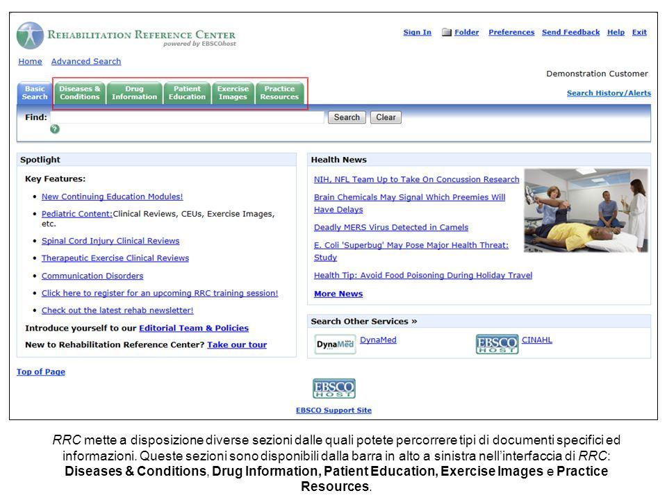RRC mette a disposizione diverse sezioni dalle quali potete percorrere tipi di documenti specifici ed informazioni.