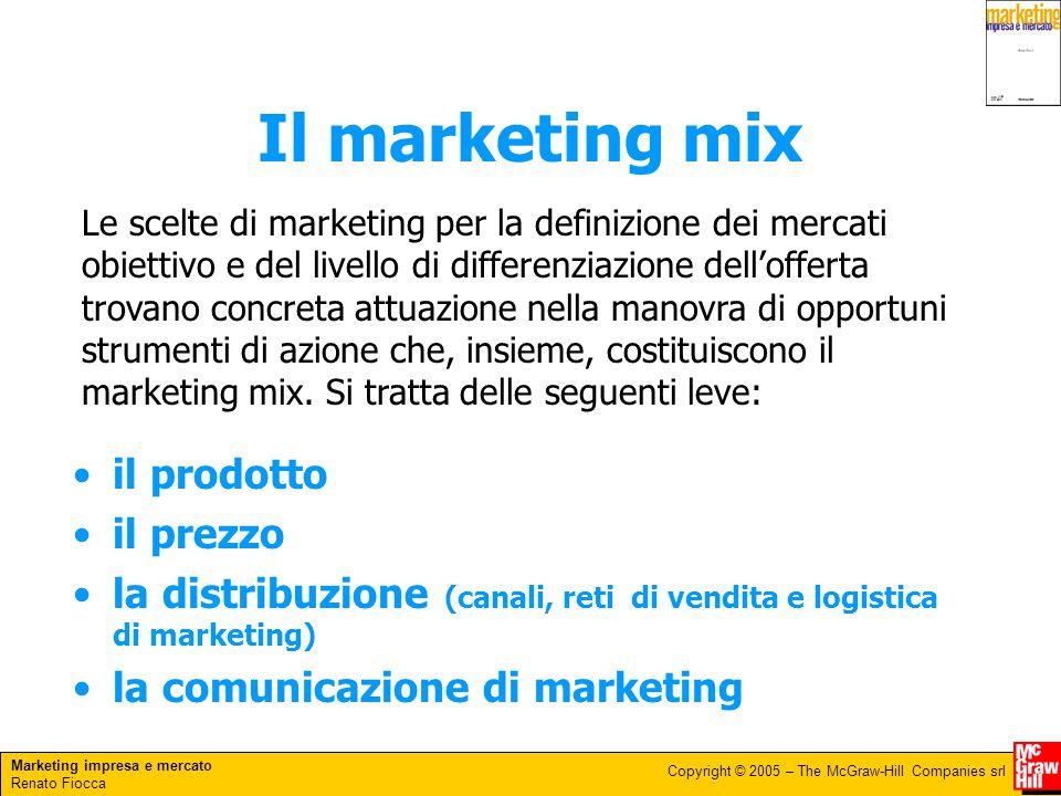 Marketing impresa e mercato Renato Fiocca Copyright © 2005 – The McGraw-Hill Companies srl Il marketing mix il prodotto il prezzo la distribuzione (ca