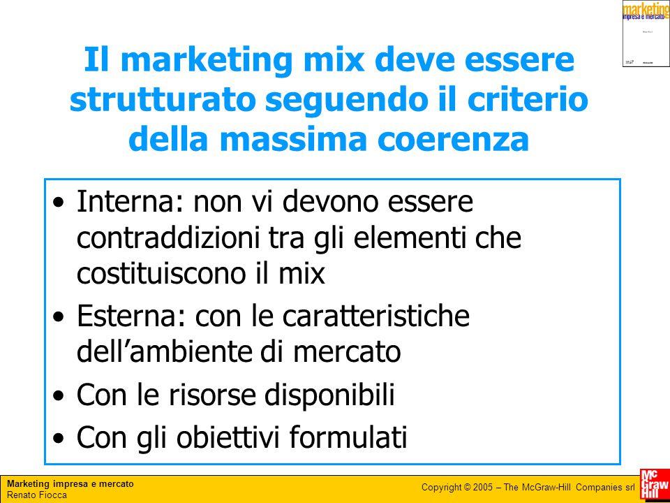 Marketing impresa e mercato Renato Fiocca Copyright © 2005 – The McGraw-Hill Companies srl Il marketing mix deve essere strutturato seguendo il criter