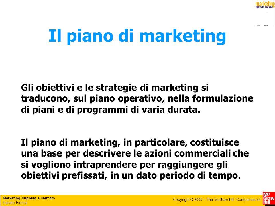 Marketing impresa e mercato Renato Fiocca Copyright © 2005 – The McGraw-Hill Companies srl Il piano di marketing Gli obiettivi e le strategie di marke