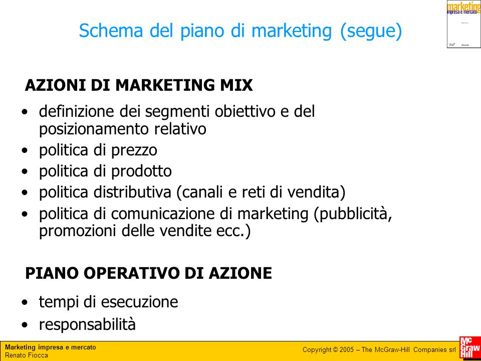 Marketing impresa e mercato Renato Fiocca Copyright © 2005 – The McGraw-Hill Companies srl definizione dei segmenti obiettivo e del posizionamento rel
