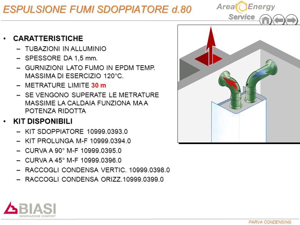 PARVA CONDENSING Service ESPULSIONE FUMI SDOPPIATORE d.80 CARATTERISTICHECARATTERISTICHE –TUBAZIONI IN ALLUMINIO –SPESSORE DA 1,5 mm.