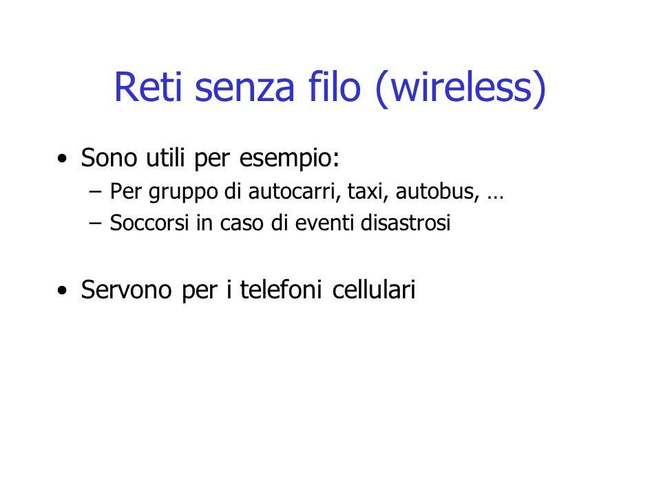 Reti senza filo (wireless) Sono utili per esempio: –Per gruppo di autocarri, taxi, autobus, … –Soccorsi in caso di eventi disastrosi Servono per i tel