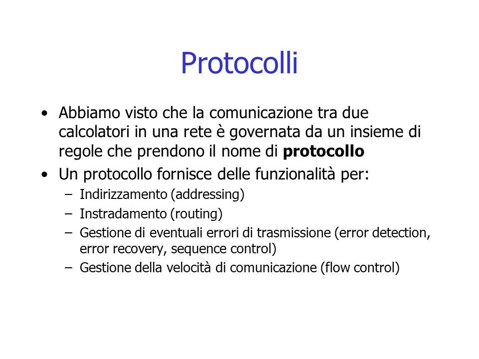 Protocolli Abbiamo visto che la comunicazione tra due calcolatori in una rete è governata da un insieme di regole che prendono il nome di protocollo U
