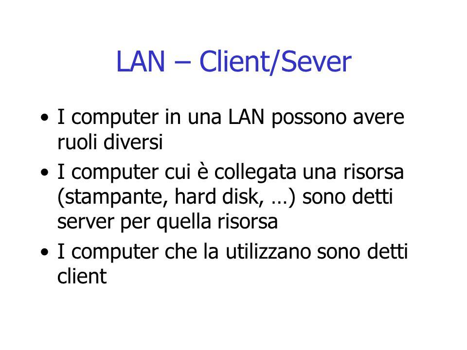 LAN – Client/Sever I computer in una LAN possono avere ruoli diversi I computer cui è collegata una risorsa (stampante, hard disk, …) sono detti serve