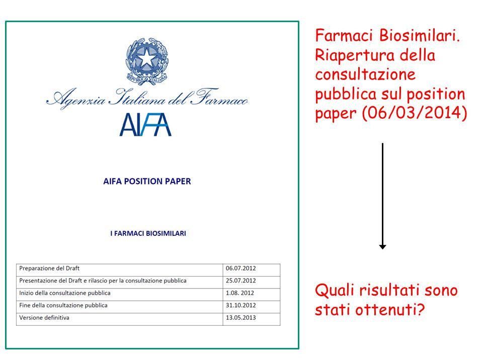 Farmaci Biosimilari. Riapertura della consultazione pubblica sul position paper (06/03/2014) Quali risultati sono stati ottenuti?
