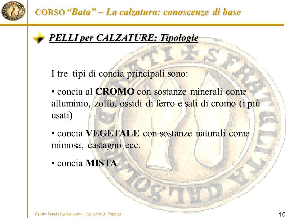 """CORSO """"Bata"""" – La calzatura: conoscenze di base Centro Veneto Calzaturiero – Capriccio di Vigonza 10 PELLI per CALZATURE: Tipologie I tre tipi di conc"""
