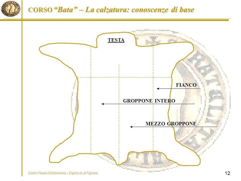 """CORSO """"Bata"""" – La calzatura: conoscenze di base Centro Veneto Calzaturiero – Capriccio di Vigonza 12 FIANCO TESTA GROPPONE INTERO MEZZO GROPPONE"""