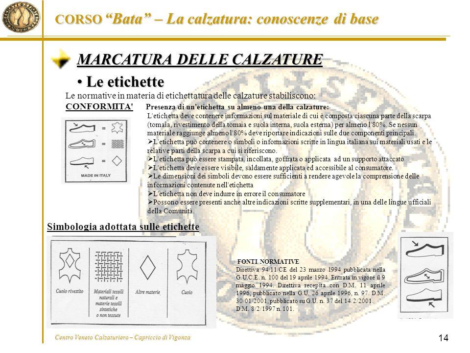 """CORSO """"Bata"""" – La calzatura: conoscenze di base Centro Veneto Calzaturiero – Capriccio di Vigonza 14 MARCATURA DELLE CALZATURE Le etichette Le etichet"""