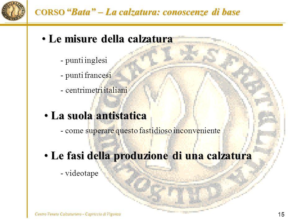 """CORSO """"Bata"""" – La calzatura: conoscenze di base Centro Veneto Calzaturiero – Capriccio di Vigonza 15 Le misure della calzatura Le misure della calzatu"""