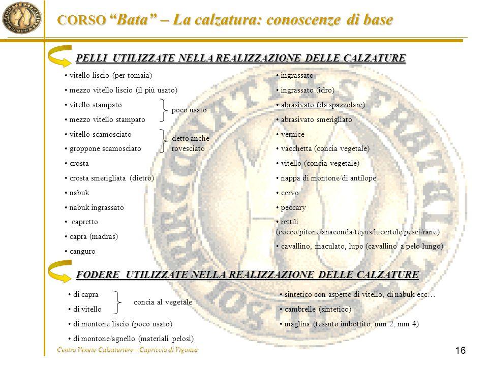 """CORSO """"Bata"""" – La calzatura: conoscenze di base Centro Veneto Calzaturiero – Capriccio di Vigonza 16 PELLI UTILIZZATE NELLA REALIZZAZIONE DELLE CALZAT"""