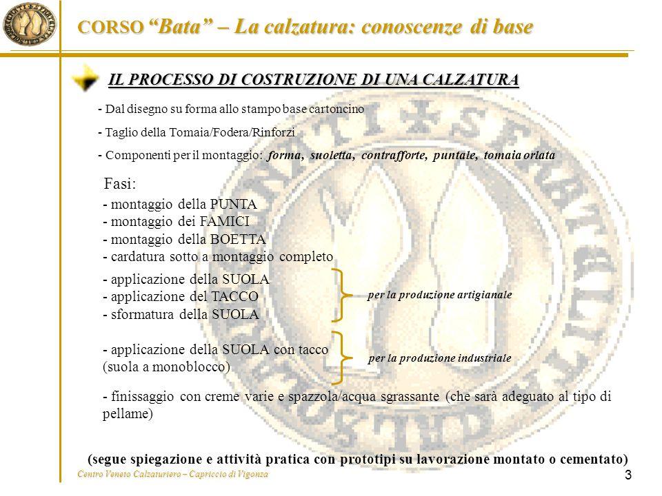 """CORSO """"Bata"""" – La calzatura: conoscenze di base Centro Veneto Calzaturiero – Capriccio di Vigonza 3 IL PROCESSO DI COSTRUZIONE DI UNA CALZATURA - Dal"""