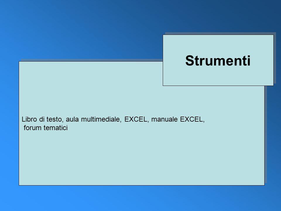 Libro di testo, aula multimediale, EXCEL, manuale EXCEL, forum tematici Libro di testo, aula multimediale, EXCEL, manuale EXCEL, forum tematici Strumenti