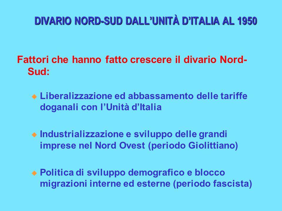 DIVARIO NORD-SUD DALL'UNITÀ D'ITALIA AL 1950 Fattori che hanno fatto crescere il divario Nord- Sud: u Liberalizzazione ed abbassamento delle tariffe d