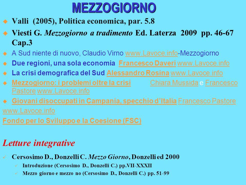MEZZOGIORNO  Valli (2005), Politica economica, par. 5.8  Viesti G. Mezzogiorno a tradimento Ed. Laterza 2009 pp. 46-67 Cap.3  A Sud niente di nuovo
