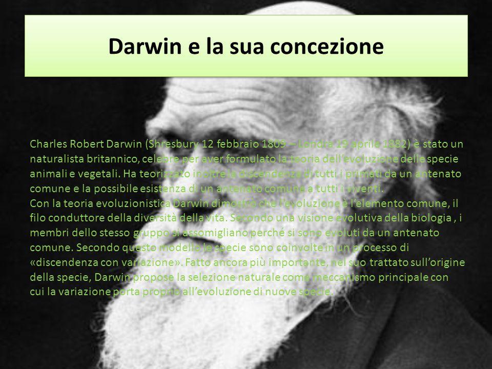 Darwin e la sua concezione Charles Robert Darwin (Shresbury 12 febbraio 1809 – Londra 19 aprile 1882) è stato un naturalista britannico, celebre per a