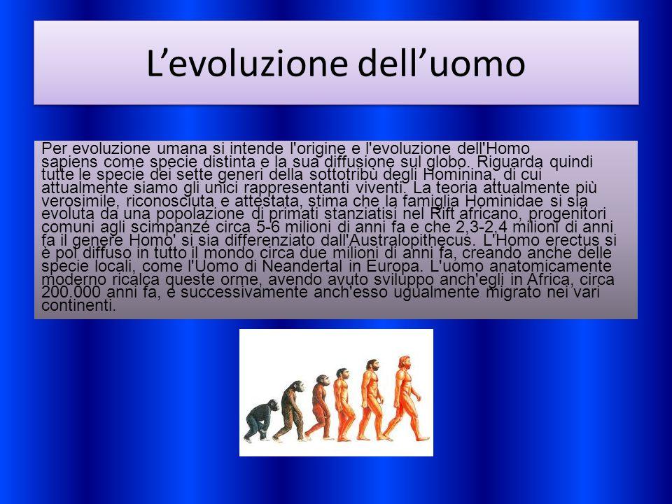 L'evoluzione dell'uomo Per evoluzione umana si intende l'origine e l'evoluzione dell'Homo sapiens come specie distinta e la sua diffusione sul globo.