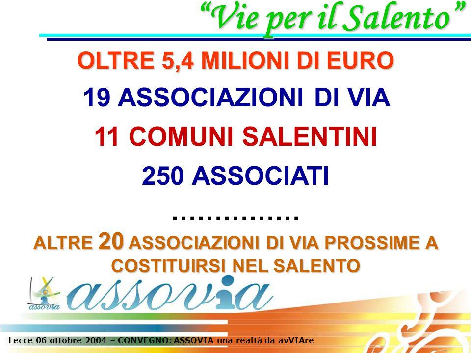 OLTRE 5,4 MILIONI DI EURO 19 ASSOCIAZIONI DI VIA Vie per il Salento 11 COMUNI SALENTINI 250 ASSOCIATI …………… ALTRE 20 ASSOCIAZIONI DI VIA PROSSIME A COSTITUIRSI NEL SALENTO