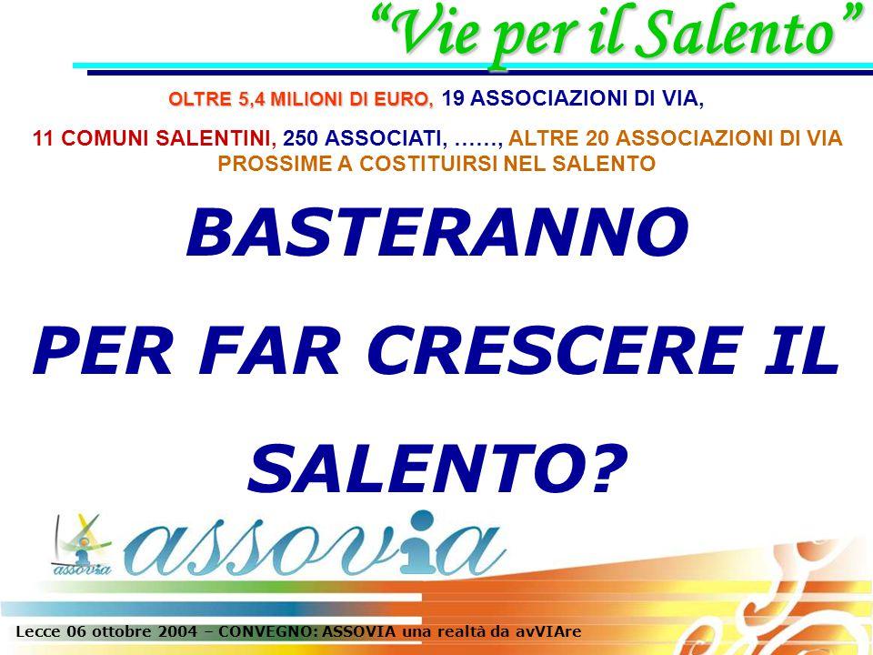 Lecce 06 ottobre 2004 – CONVEGNO: ASSOVIA una realtà da avVIAre BASTERANNO PER FAR CRESCERE IL SALENTO.