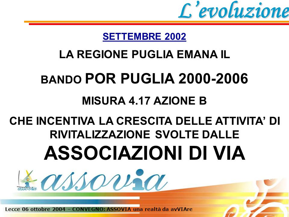 SETTEMBRE 2002 LA REGIONE PUGLIA EMANA IL BANDO POR PUGLIA 2000-2006 MISURA 4.17 AZIONE B CHE INCENTIVA LA CRESCITA DELLE ATTIVITA' DI RIVITALIZZAZIONE SVOLTE DALLE ASSOCIAZIONI DI VIA L'evoluzione