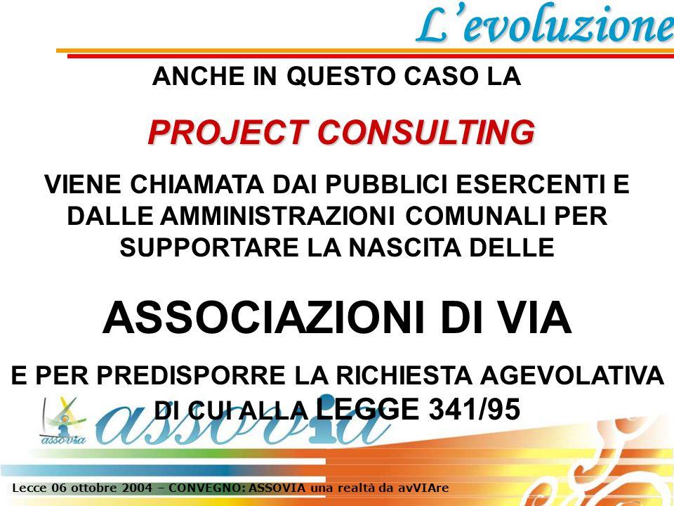 Lecce 06 ottobre 2004 – CONVEGNO: ASSOVIA una realtà da avVIAre 10 VENGONO CREATE ALTRE 10 ASSOCIAZIONI DI VIA: PATU': CENTRO STORICO, SAN GREGORIO PARABITA: CENTRO STORICO PRESICCE: CORSO ITALIA, PIAZZA DEL POPOLO SAN CASSIANO: SAN ROCCO, SANT'ANNA STERNATIA: CHORA ZOLLINO: SOLINUM CALIMERA: KALIMERA CHE RICHIEDONO IL CONTRIBUTO DI CUI ALLA L.