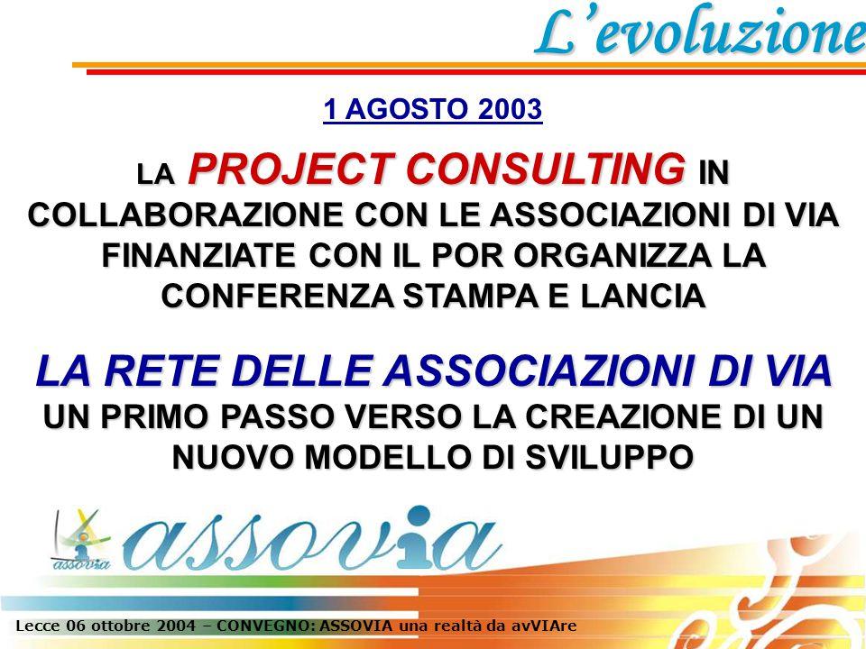 Lecce 06 ottobre 2004 – CONVEGNO: ASSOVIA una realtà da avVIAre 1 AGOSTO 2003 LA PROJECT CONSULTING IN COLLABORAZIONE CON LE ASSOCIAZIONI DI VIA FINANZIATE CON IL POR ORGANIZZA LA CONFERENZA STAMPA E LANCIA LA RETE DELLE ASSOCIAZIONI DI VIA UN PRIMO PASSO VERSO LA CREAZIONE DI UN NUOVO MODELLO DI SVILUPPO L'evoluzione