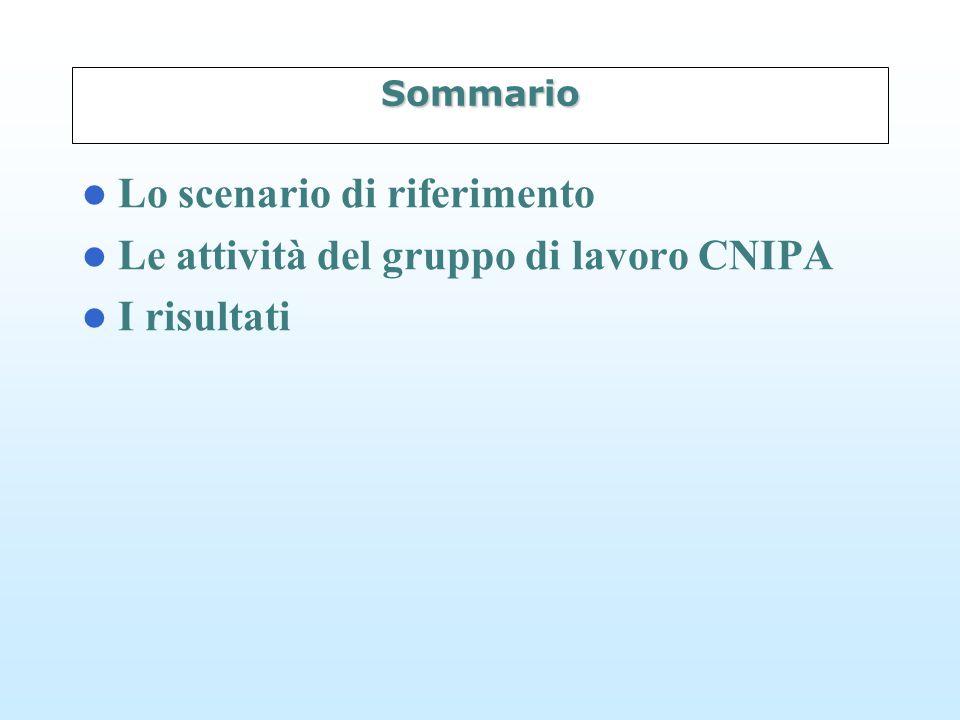 Sommario Lo scenario di riferimento Le attività del gruppo di lavoro CNIPA I risultati
