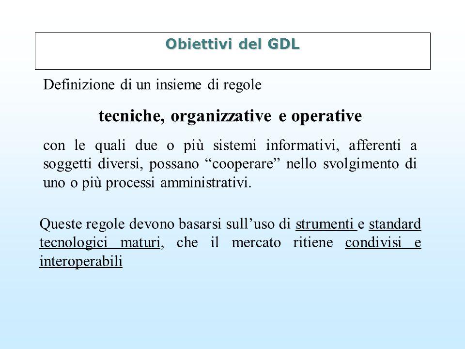 Obiettivi del GDL Definizione di un insieme di regole tecniche, organizzative e operative con le quali due o più sistemi informativi, afferenti a soggetti diversi, possano cooperare nello svolgimento di uno o più processi amministrativi.