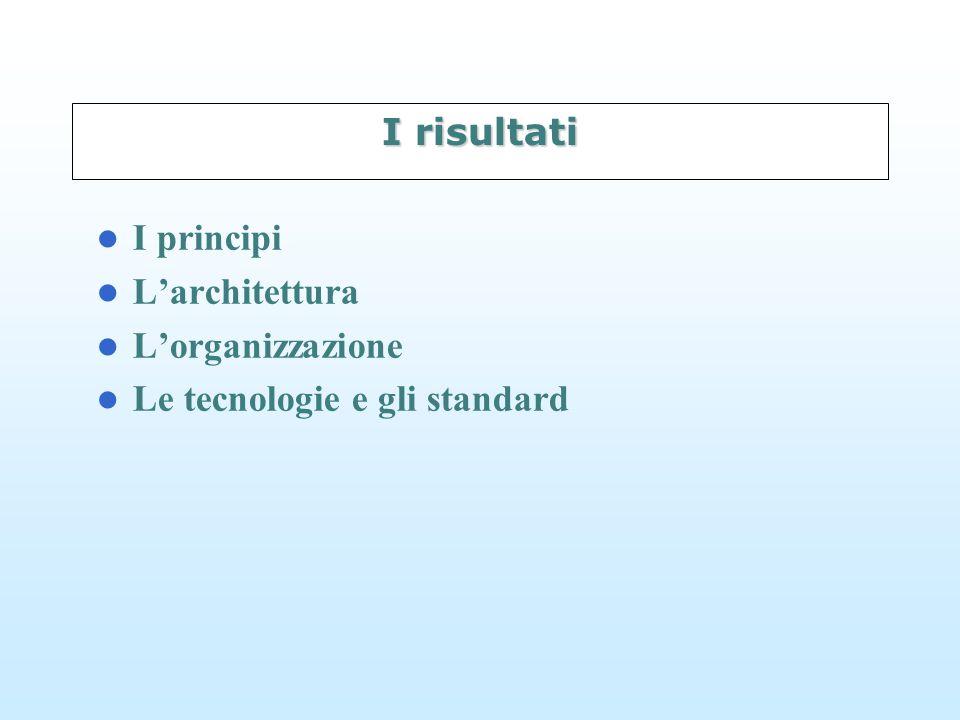 I risultati I principi L'architettura L'organizzazione Le tecnologie e gli standard