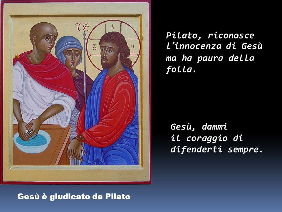 Gesù è rinnegato da Pietro Pietro ha paura e per tre volte dice di non conoscere Gesù. Gesù, fa' che io possa esserti sempre fedele.