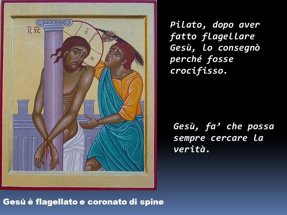 Gesù è giudicato da Pilato Pilato, riconosce l'innocenza di Gesù ma ha paura della folla. Gesù, dammi il coraggio di difenderti sempre.