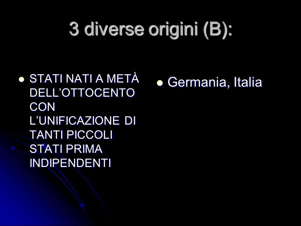 3 diverse origini (B): STATI NATI A METÀ DELL'OTTOCENTO CON L'UNIFICAZIONE DI TANTI PICCOLI STATI PRIMA INDIPENDENTI STATI NATI A METÀ DELL'OTTOCENTO CON L'UNIFICAZIONE DI TANTI PICCOLI STATI PRIMA INDIPENDENTI Germania, Italia Germania, Italia
