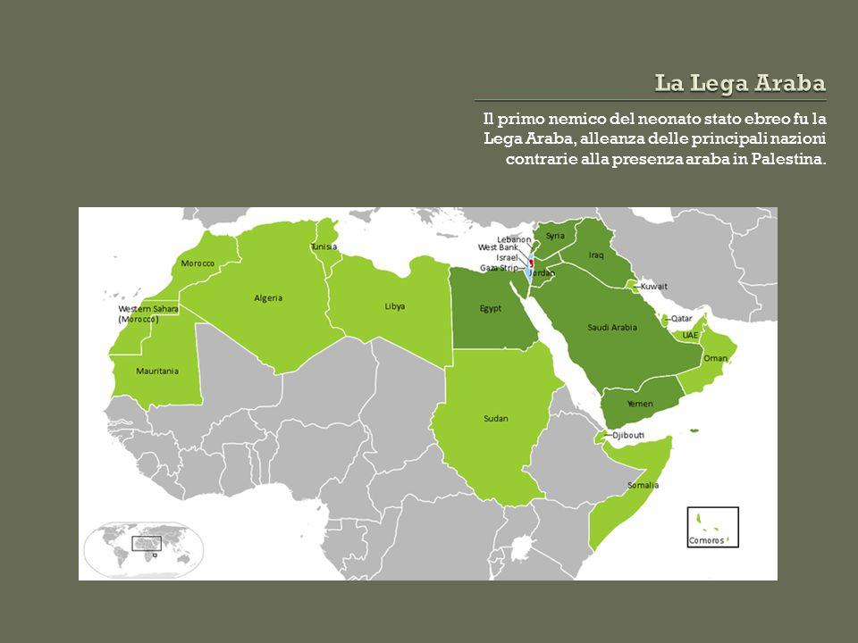 Il primo nemico del neonato stato ebreo fu la Lega Araba, alleanza delle principali nazioni contrarie alla presenza araba in Palestina.