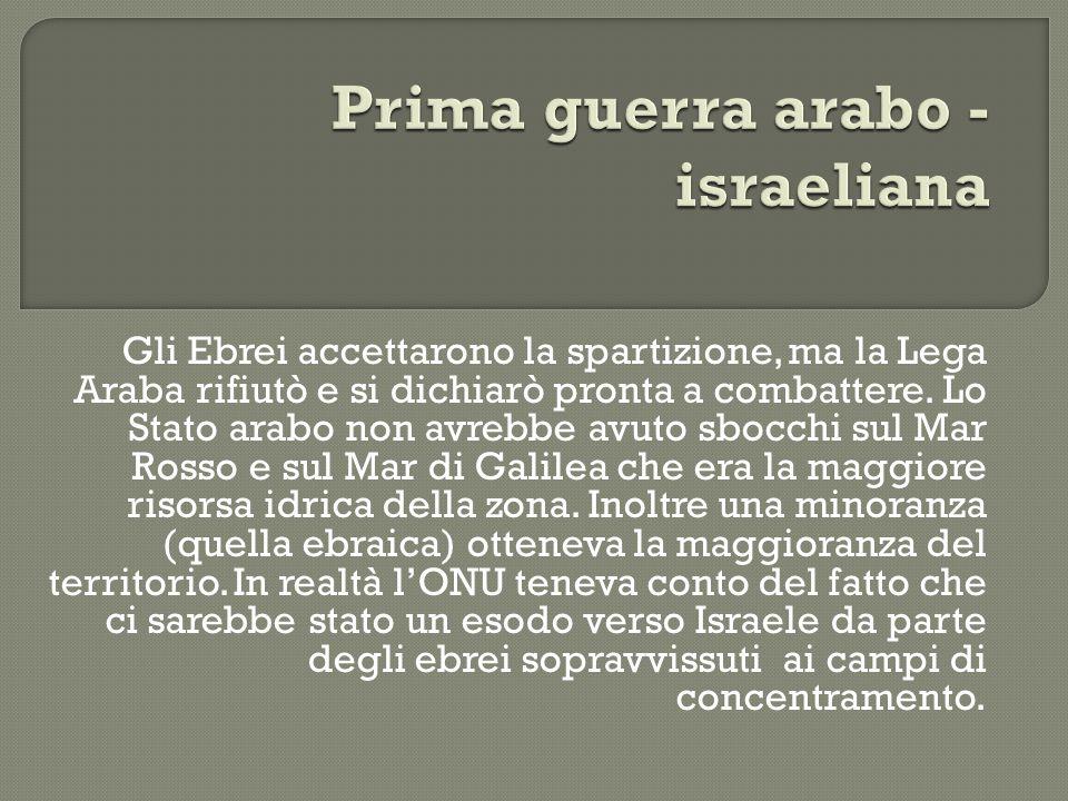 Gli Ebrei accettarono la spartizione, ma la Lega Araba rifiutò e si dichiarò pronta a combattere. Lo Stato arabo non avrebbe avuto sbocchi sul Mar Ros