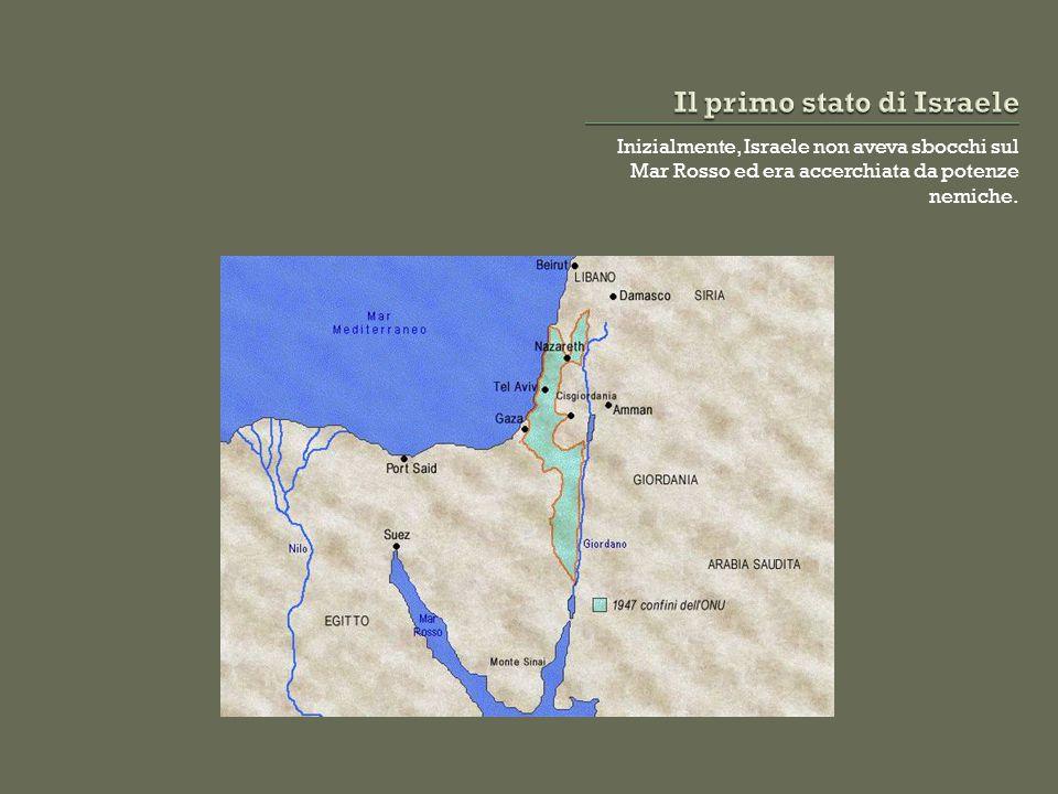 Inizialmente, Israele non aveva sbocchi sul Mar Rosso ed era accerchiata da potenze nemiche.
