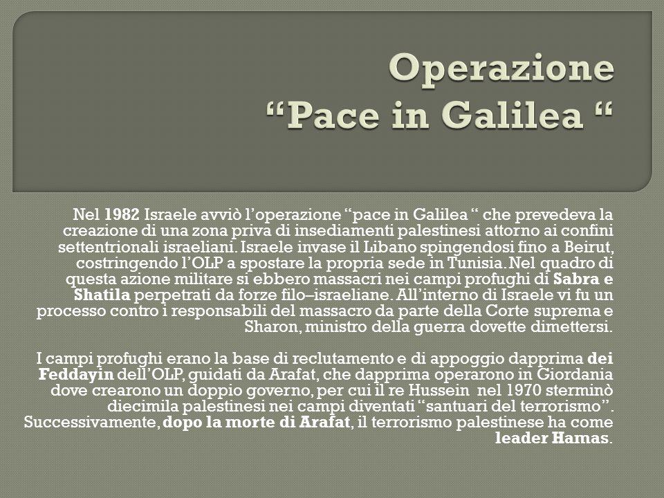 """Nel 1982 Israele avviò l'operazione """"pace in Galilea """" che prevedeva la creazione di una zona priva di insediamenti palestinesi attorno ai confini set"""