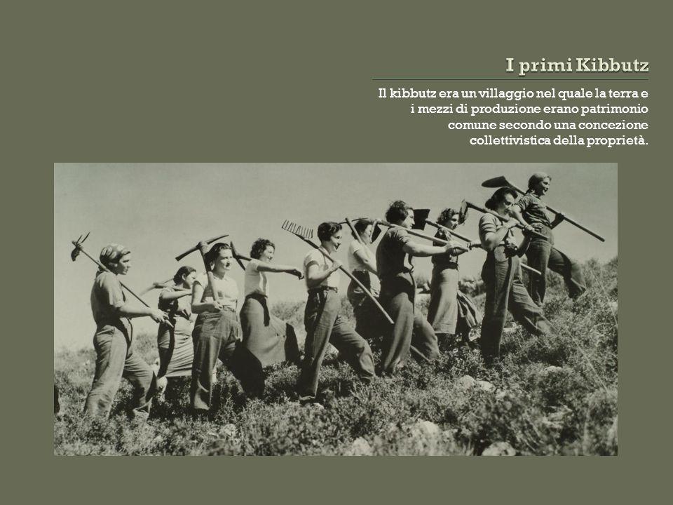 Il kibbutz era un villaggio nel quale la terra e i mezzi di produzione erano patrimonio comune secondo una concezione collettivistica della proprietà.
