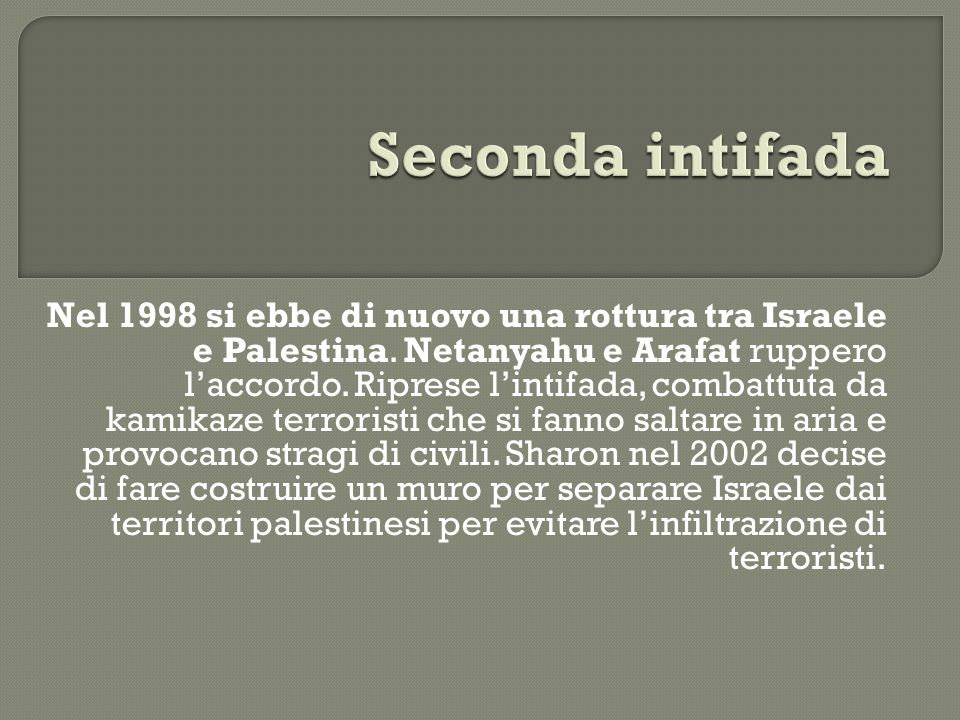 Nel 1998 si ebbe di nuovo una rottura tra Israele e Palestina. Netanyahu e Arafat ruppero l'accordo. Riprese l'intifada, combattuta da kamikaze terror