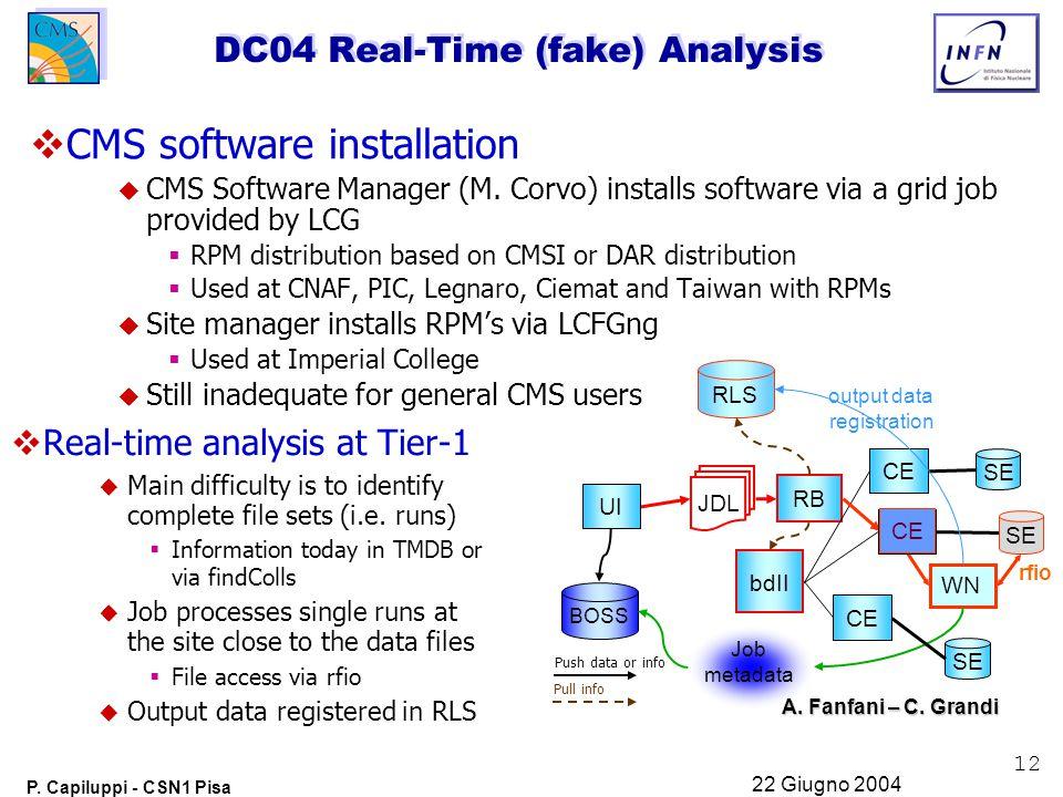 12 P. Capiluppi - CSN1 Pisa 22 Giugno 2004 DC04 Real-Time (fake) Analysis  CMS software installation  CMS Software Manager (M. Corvo) installs softw