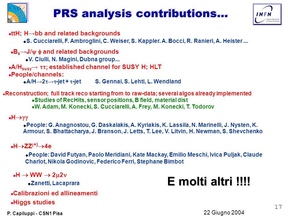 17 P. Capiluppi - CSN1 Pisa 22 Giugno 2004 PRS analysis contributions… n n ttH; H→bb and related backgrounds u u S. Cucciarelli, F. Ambroglini, C. Wei