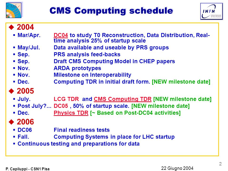 2 P. Capiluppi - CSN1 Pisa 22 Giugno 2004 CMS Computing schedule u 2004  Mar/Apr. DC04 to study T0 Reconstruction, Data Distribution, Real- time anal