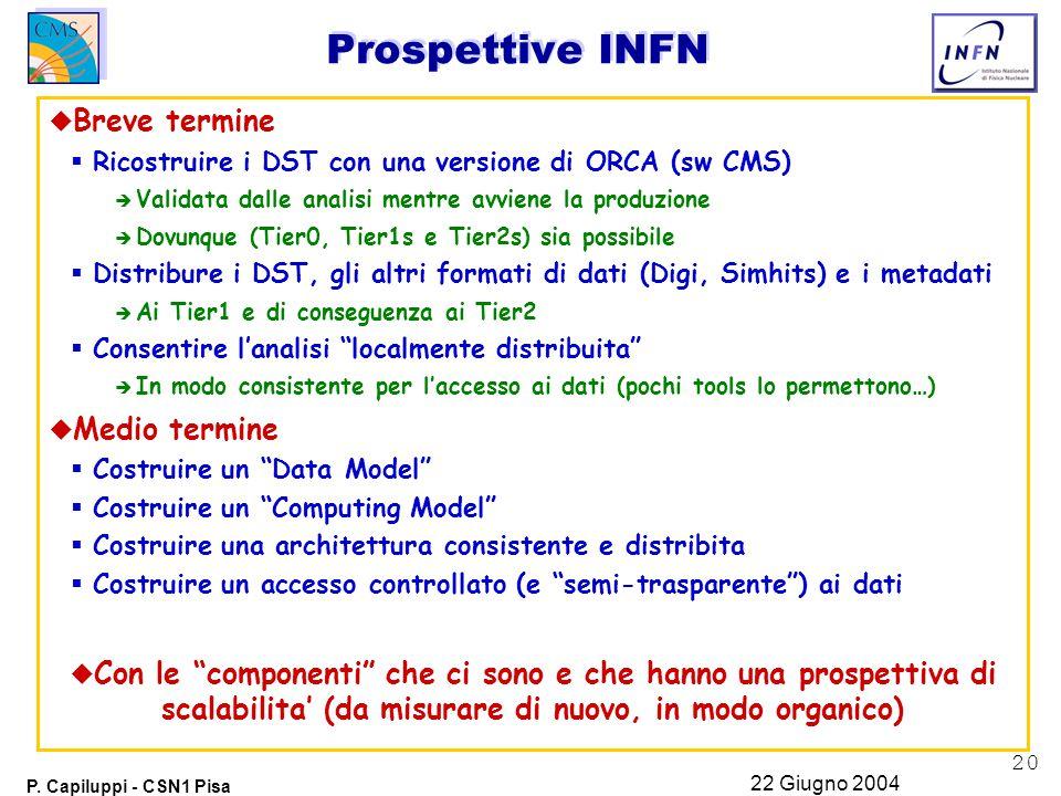 20 P. Capiluppi - CSN1 Pisa 22 Giugno 2004 Prospettive INFN u Breve termine  Ricostruire i DST con una versione di ORCA (sw CMS) è Validata dalle ana