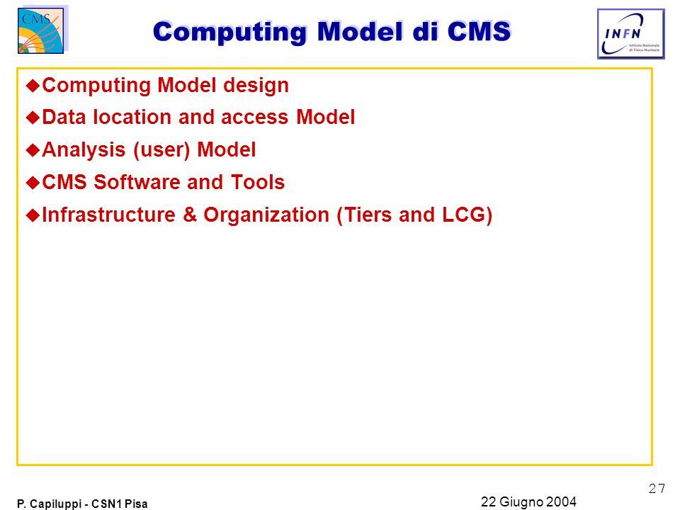 27 P. Capiluppi - CSN1 Pisa 22 Giugno 2004 Computing Model di CMS u Computing Model design u Data location and access Model u Analysis (user) Model u