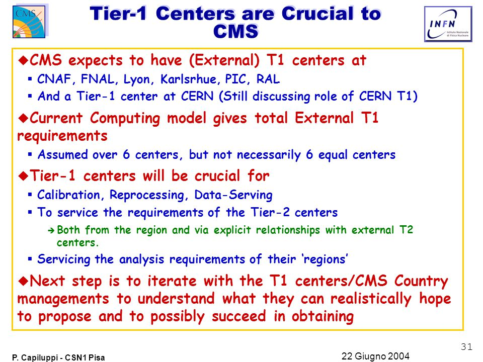 31 P. Capiluppi - CSN1 Pisa 22 Giugno 2004 Tier-1 Centers are Crucial to CMS u CMS expects to have (External) T1 centers at  CNAF, FNAL, Lyon, Karlsr