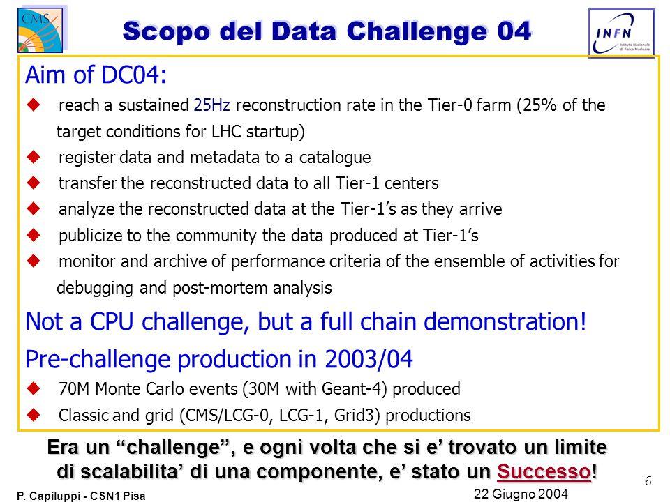 6 P. Capiluppi - CSN1 Pisa 22 Giugno 2004 Scopo del Data Challenge 04 Aim of DC04:  reach a sustained 25Hz reconstruction rate in the Tier-0 farm (2
