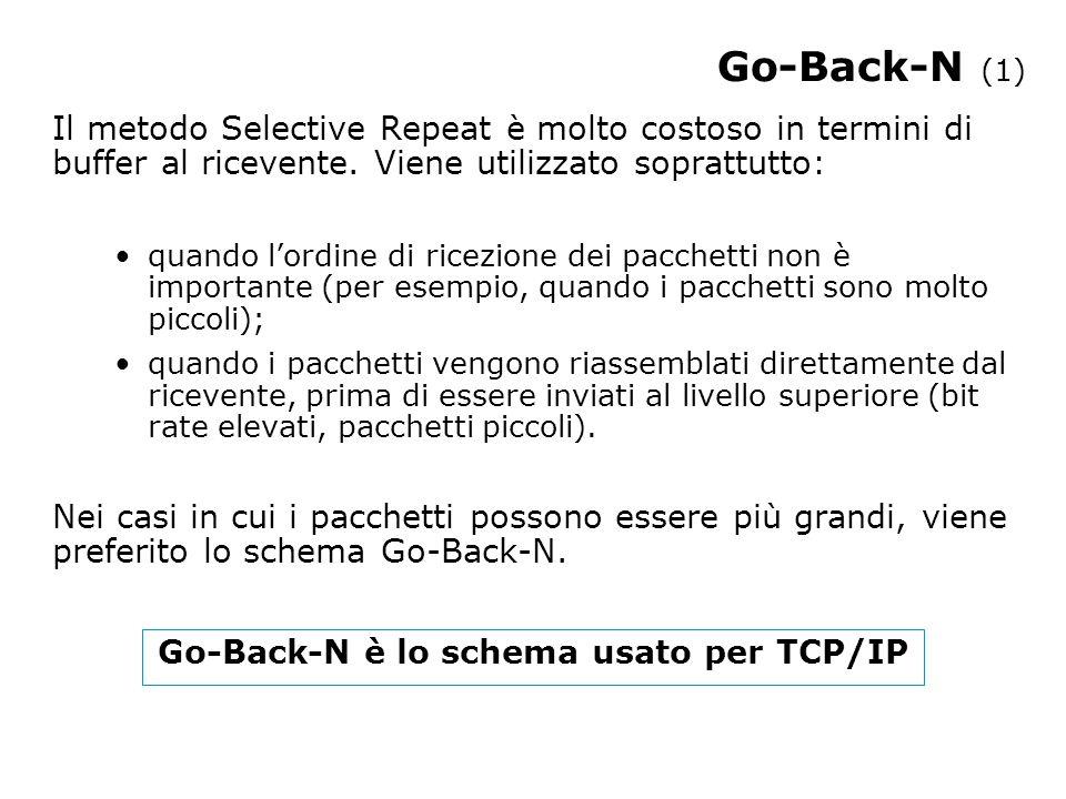 Go-Back-N (1) Il metodo Selective Repeat è molto costoso in termini di buffer al ricevente.