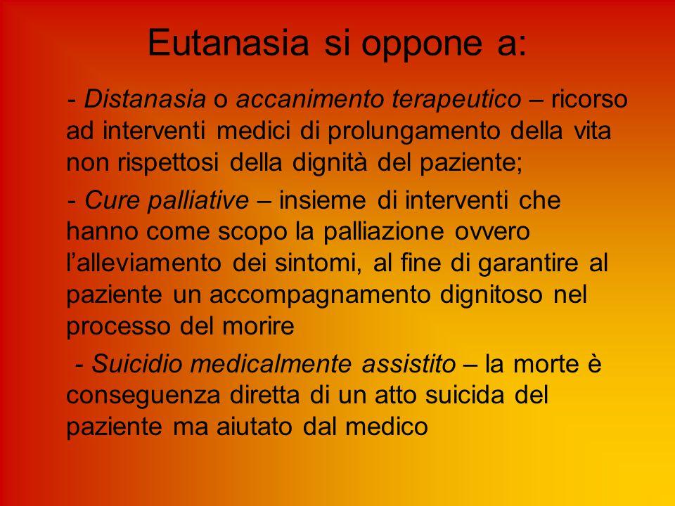 Eutanasia si oppone a: - Distanasia o accanimento terapeutico – ricorso ad interventi medici di prolungamento della vita non rispettosi della dignità
